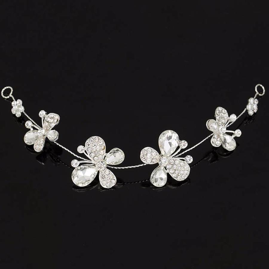 SALE - Elegant Haar Sieraad met Kristallen, Vlinders en Bloemen-2