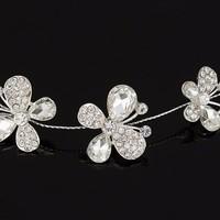thumb-SALE - Elegant Haar Sieraad met Kristallen, Vlinders en Bloemen-3