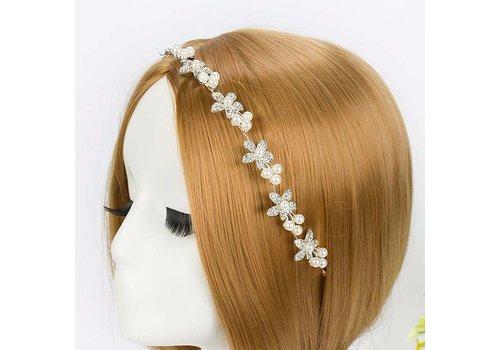 Sierlijk Haar Sieraad met Kristallen Bloemen en Ivoorkleurige Parels
