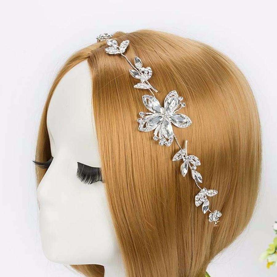 Elegant Haar Sieraad met Kristallen Bloemen-1