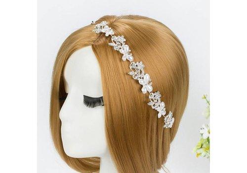 Sierlijk Haar Sieraad met Ivoorkleurige Parel Vlinders en Kristallen