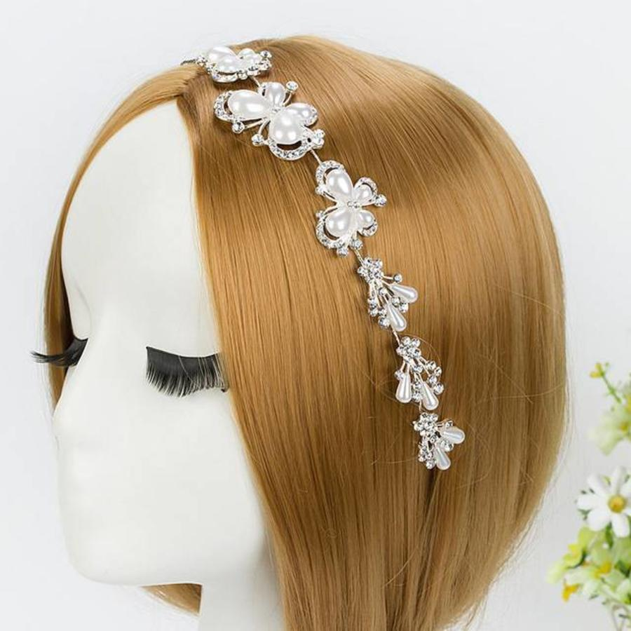 PaCaZa - Elegant Haar Sieraad met Ivoorkleurige Parel Vlinders en Kristallen-2