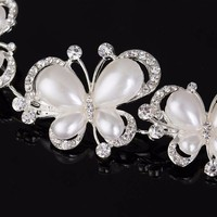 thumb-PaCaZa - Elegant Haar Sieraad met Ivoorkleurige Parel Vlinders en Kristallen-3