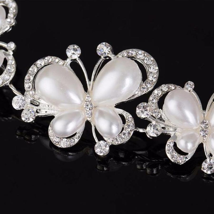 PaCaZa - Elegant Haar Sieraad met Ivoorkleurige Parel Vlinders en Kristallen-3