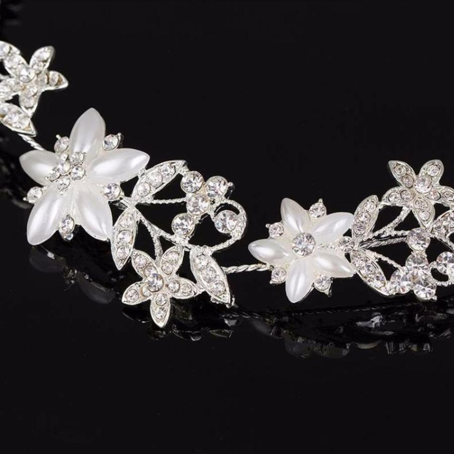 Elegant Haar Sieraad met Ivoorkleurige Parel Bloemen en Kristallen-2
