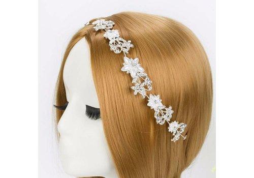 Elegant Haar Sieraad met Ivoorkleurige Parel Bloemen en Kristallen