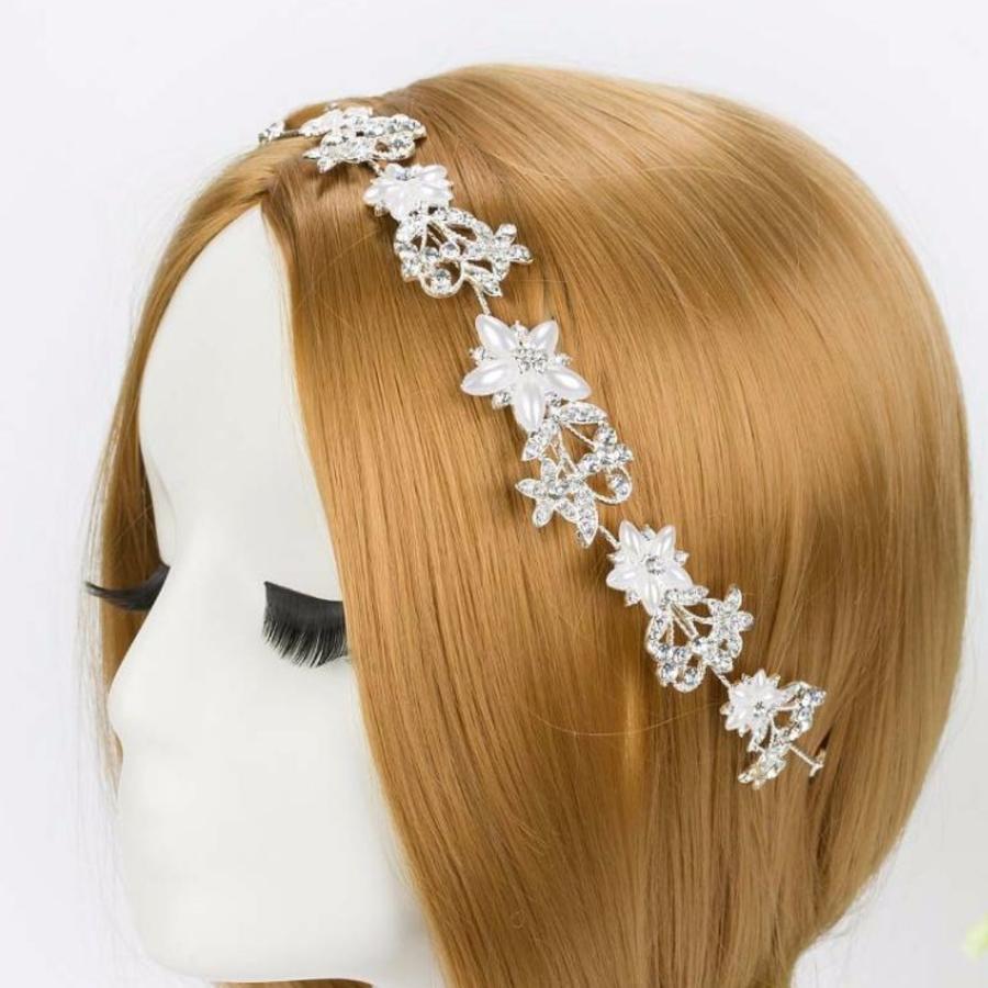 Elegant Haar Sieraad met Ivoorkleurige Parel Bloemen en Kristallen-1