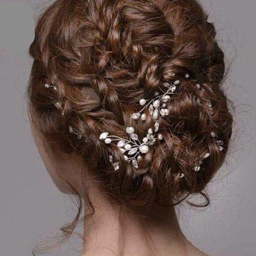 Hairpins met Ivoorkleurige Parels en Diamanten - 2 Stuks