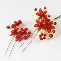 thumb-Hairpin - Bloem Met Roodkleurige Parels-2