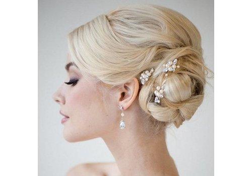 Hairpins met Ivoorkleurige Parels, Kristallen en Diamanten - 2 Stuks