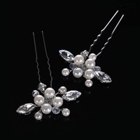 thumb-Hairpins met Ivoorkleurige Parels, Kristallen en Diamanten - 2 Stuks-3