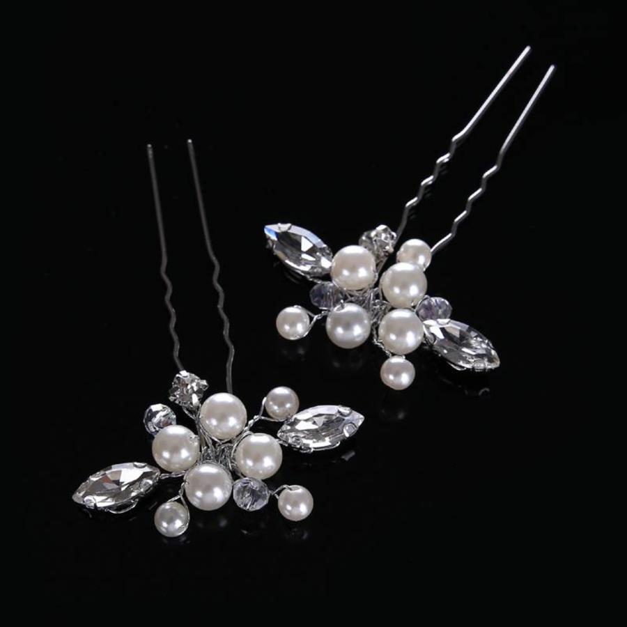 PaCaZa - Hairpins met Ivoorkleurige Parels, Kristallen en Diamanten - 2 Stuks-3