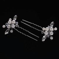 thumb-Hairpins met Ivoorkleurige Parels, Kristallen en Diamanten - 2 Stuks-4