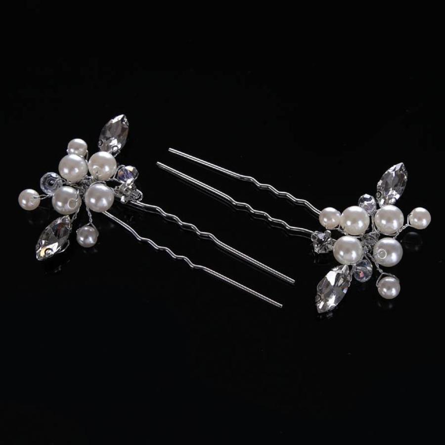 PaCaZa - Hairpins met Ivoorkleurige Parels, Kristallen en Diamanten - 2 Stuks-4