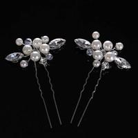 thumb-Hairpins met Ivoorkleurige Parels, Kristallen en Diamanten - 2 Stuks-2