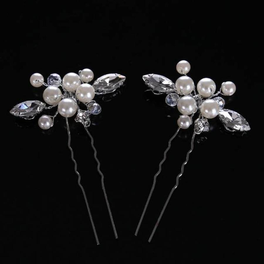 Hairpins met Ivoorkleurige Parels, Kristallen en Diamanten - 2 Stuks-2