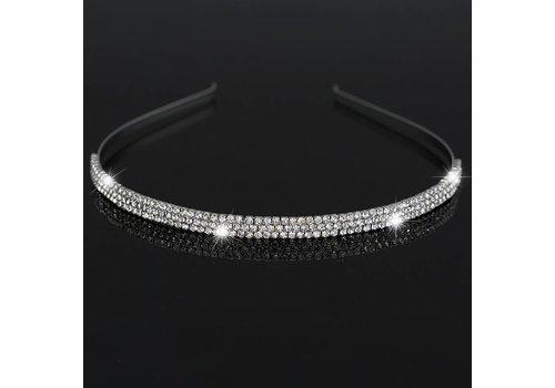 Tiara / Diadeem Zilverkleurig met Fonkelende Kristallen