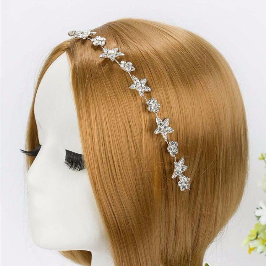 Elegant Haar Sieraad met Fonkelende Sterren en Bloemen-1