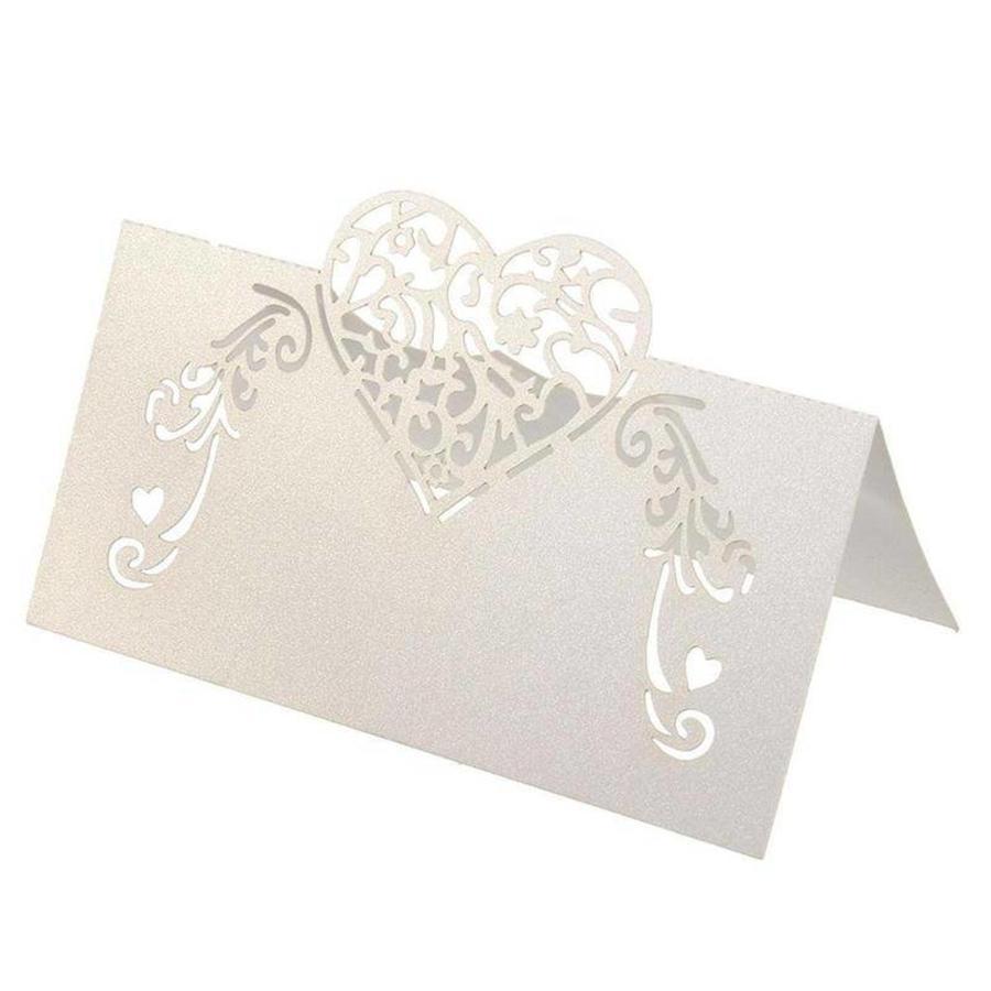 Tafelkaartjes / Plaatskaartjes - 50 stuks - Off White - Hart-3