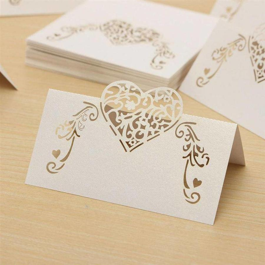 Tafelkaartjes / Plaatskaartjes - 50 stuks - Off White - Hart-7