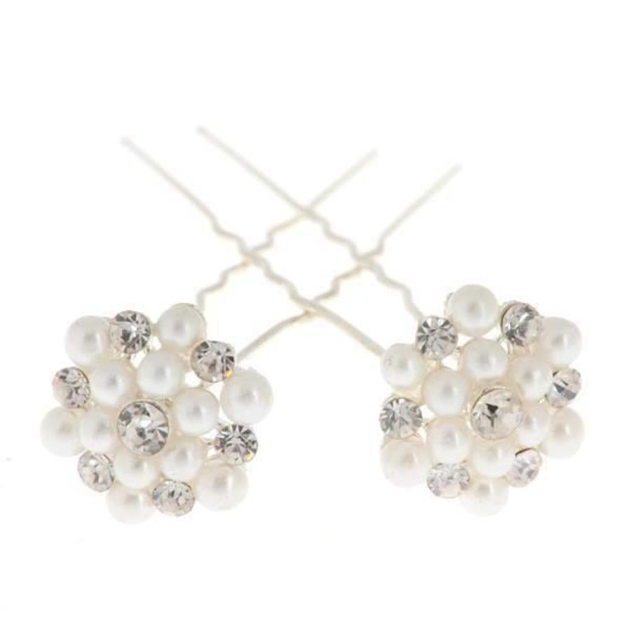 Hairpins / Haarpinnen met Parels en Diamantjes - 4 stuks-3