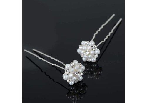 Hairpins / Haarpinnen met Parels en Diamantjes - 4 stuks