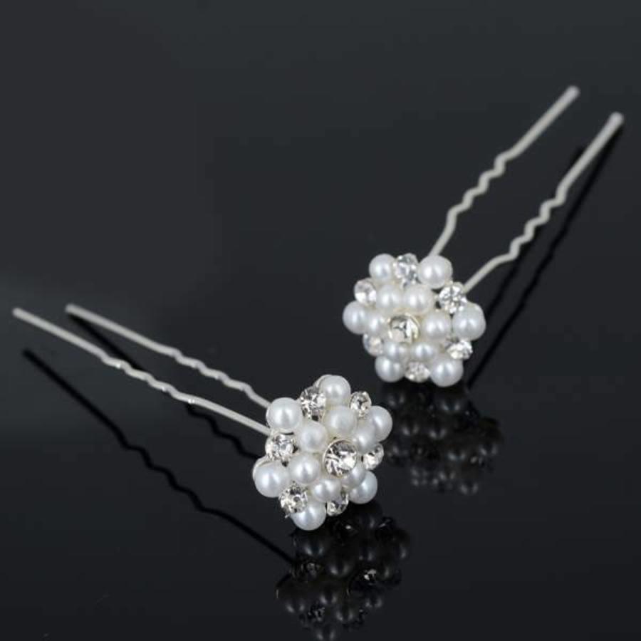 Hairpins / Haarpinnen met Parels en Diamantjes - 4 stuks-1