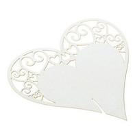 thumb-Tafelkaartjes / Glaskaartjes - 50 stuks - Off White - Hart-2