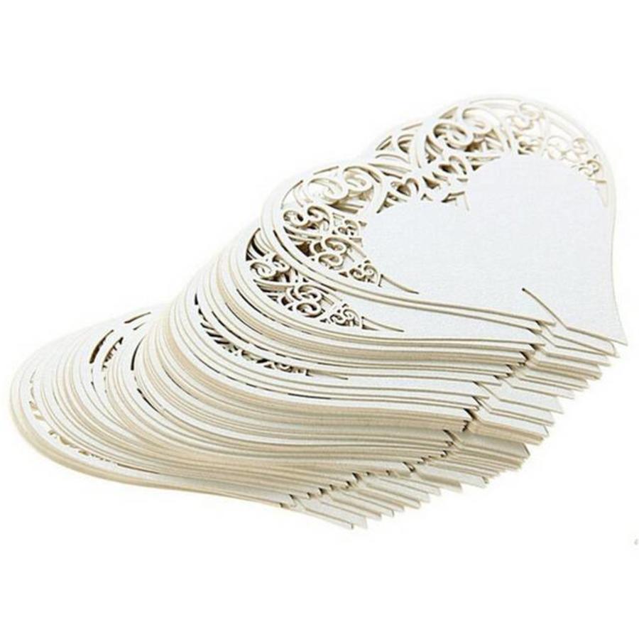 Tafelkaartjes / Glaskaartjes - 50 stuks - Off White - Hart-3