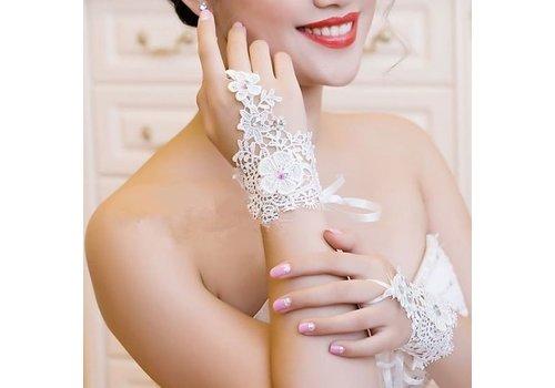 Gehaakte Witte Bruidshandschoenen