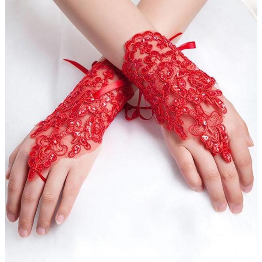 Elegante Bruidshandschoenen - Rood-1