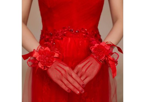 Stijlvolle Bruidshandschoenen - Rood