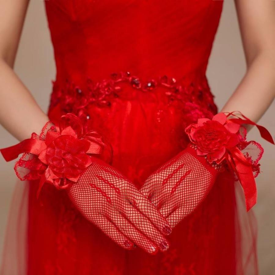 Stijlvolle Bruidshandschoenen - Rood-1