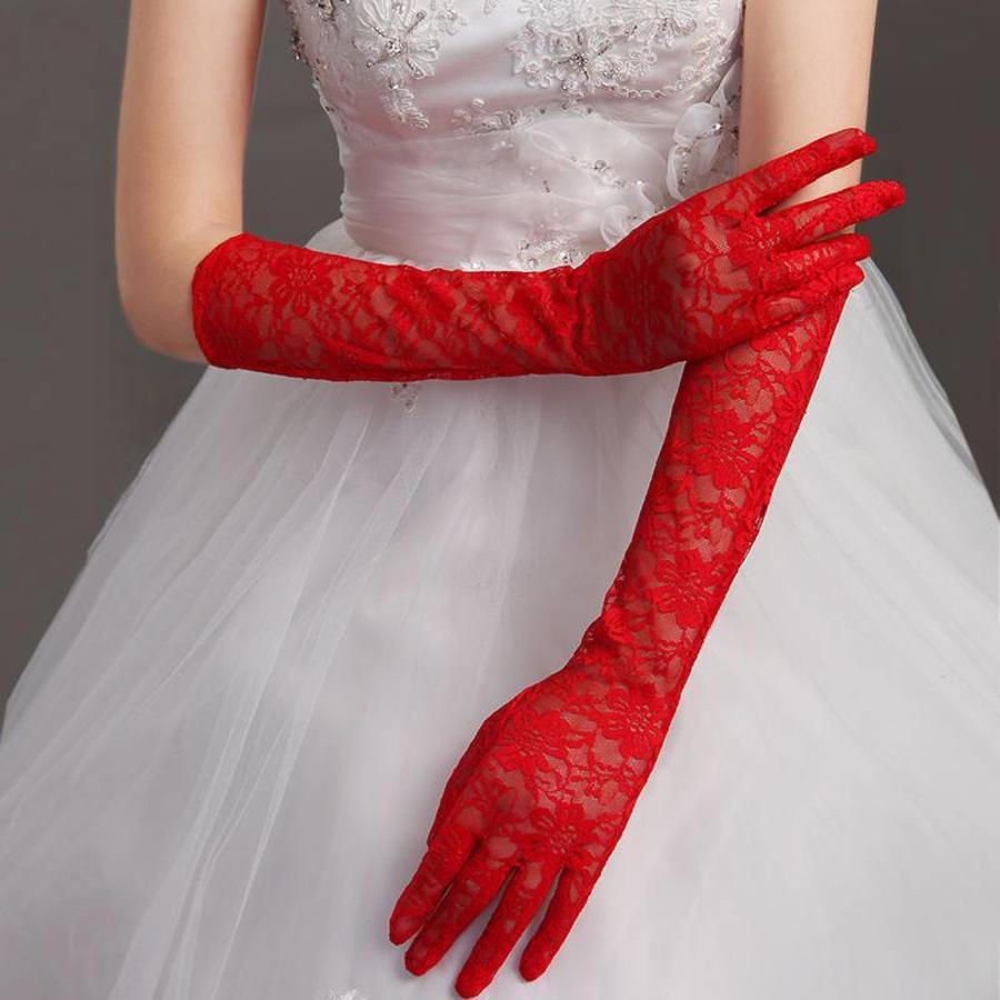 Vintage Bruidshandschoenen - Rood-1