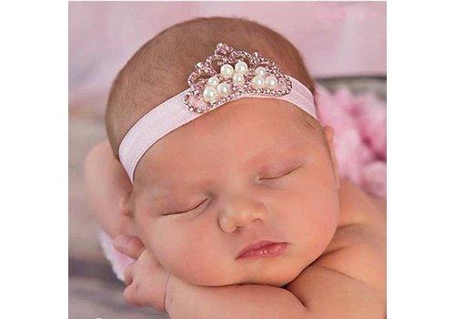 Haarband Kroontje - Newborn - Roze