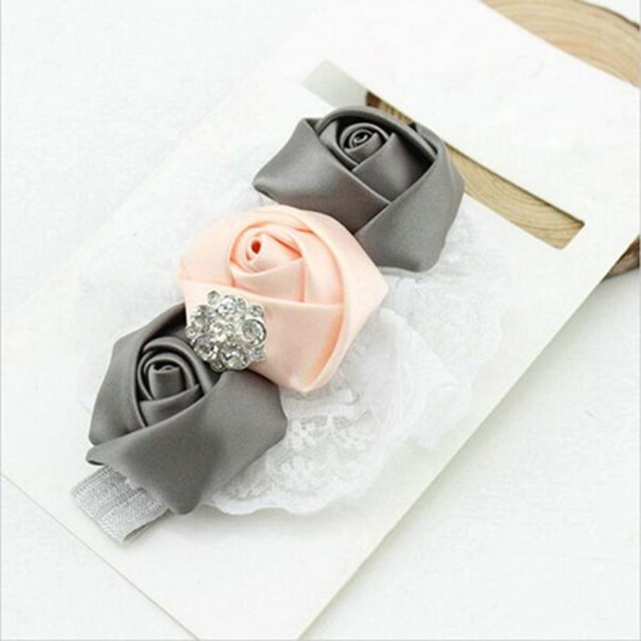Haarband Roosjes - Roze / Grijs-1