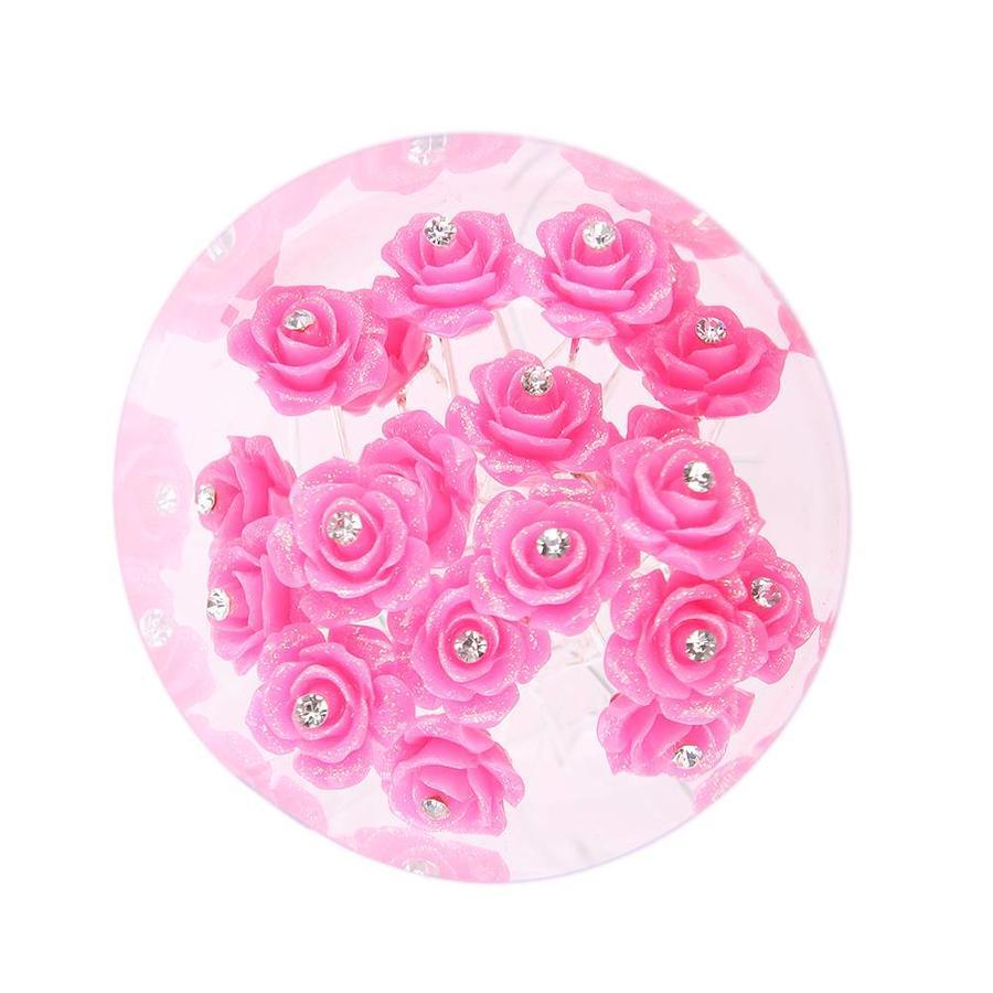 Hairpins – Fonkelende Bloem - Roze - 5 stuks-2