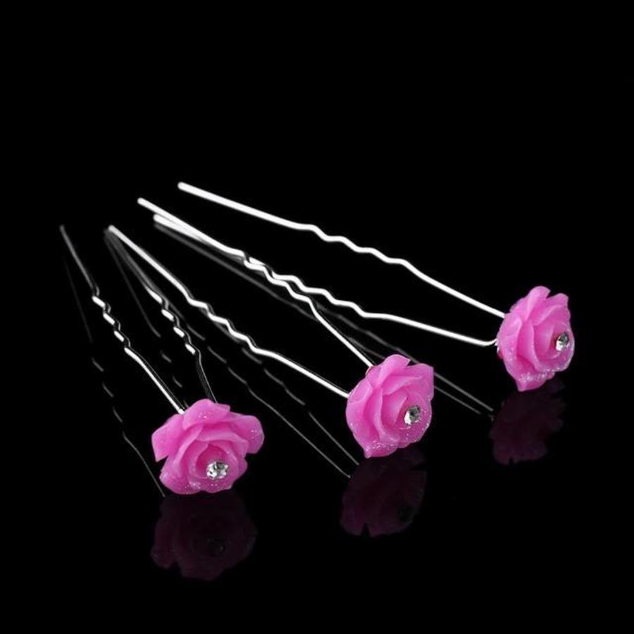 Hairpins – Fonkelende Bloem - Roze - 5 stuks-1