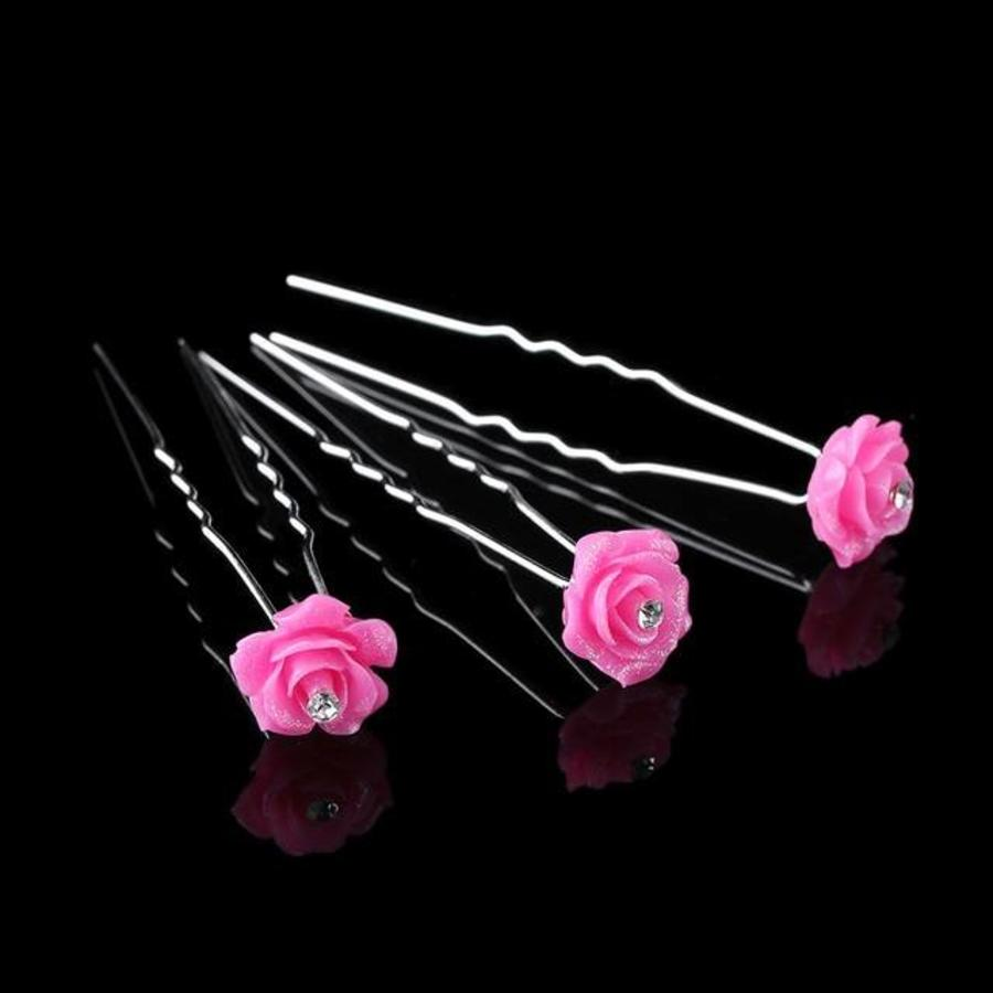 Hairpins – Fonkelende Bloem - Fel Roze - 5 stuks-1