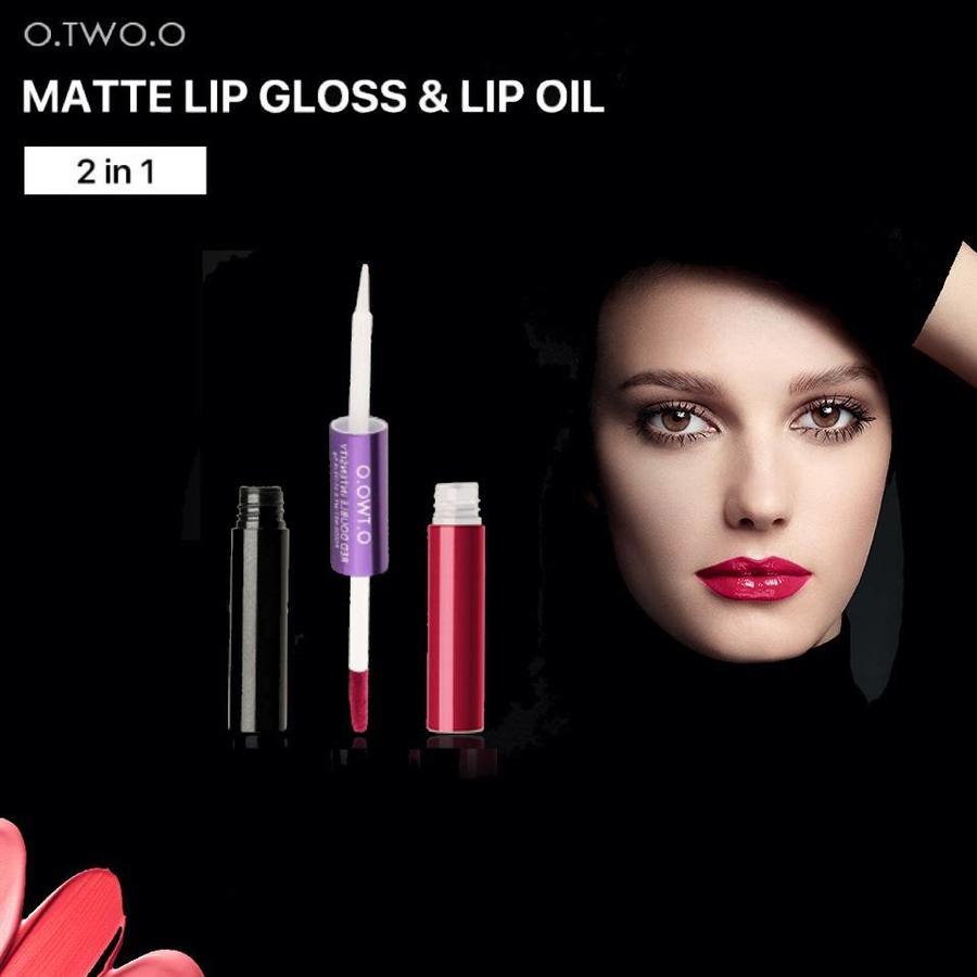 O.Two.O - 2-in-1 Matte Lipgloss & Lip Oil - Color 05 Frenesi-7