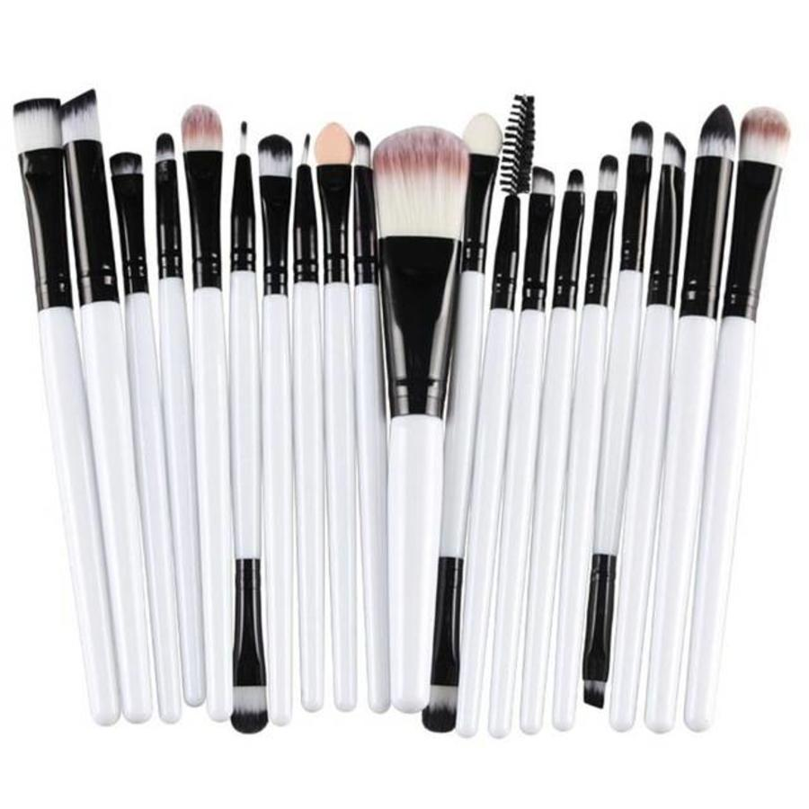 Make-up Brush Set Professional - 20 stuks - White with Black-6