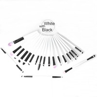 thumb-Make-up Brush Set Professional - 20 stuks - White with Black-1