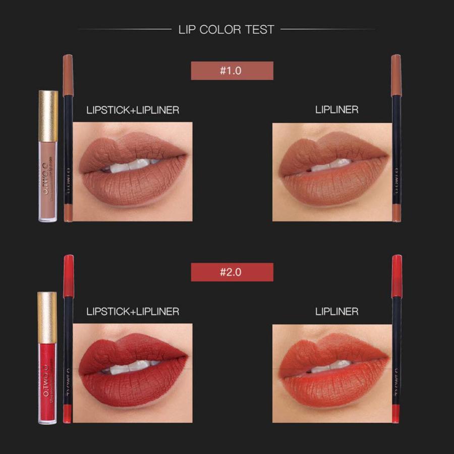Matte Lipgloss Kit Met Lipliner - Color 4.0 Red Brown-6