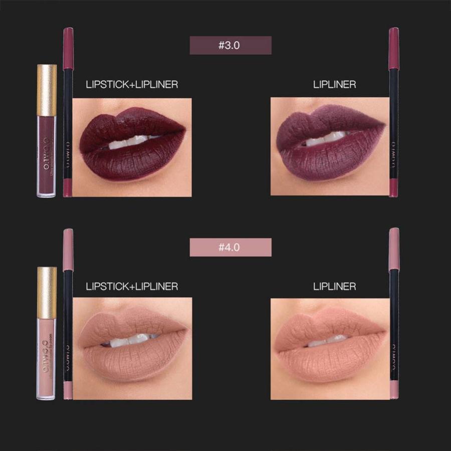 Matte Lipgloss Kit Met Lipliner - Color 4.0 Red Brown-7
