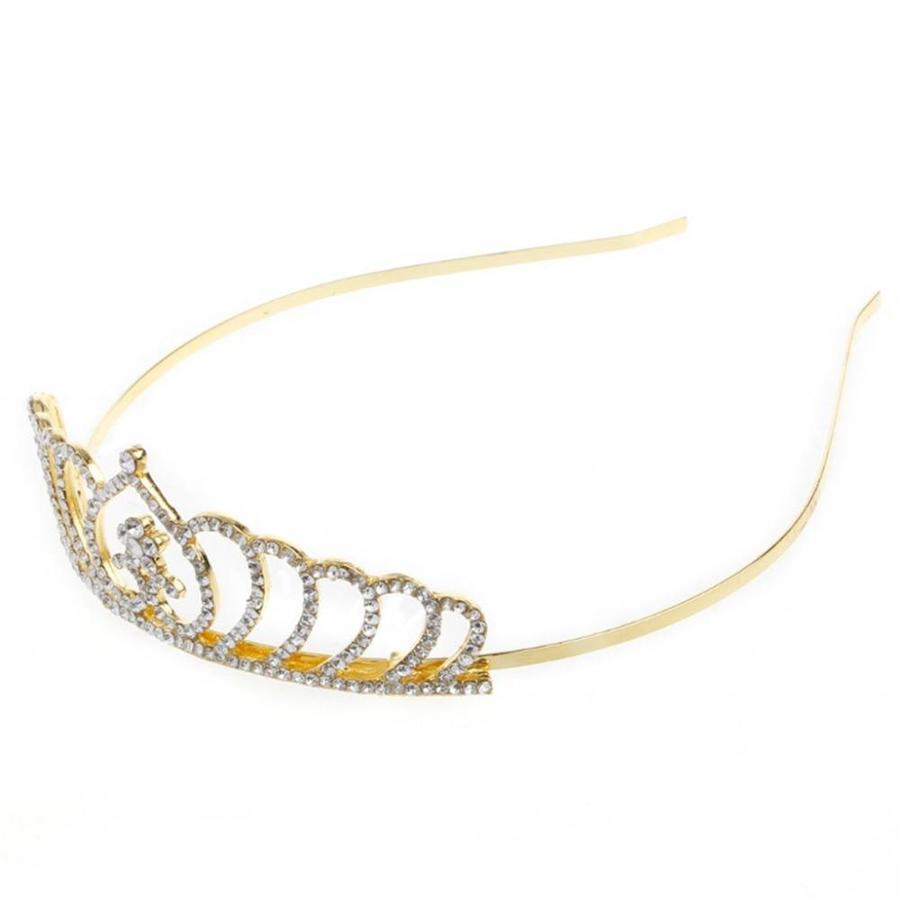 Chique Goudkleurige Tiara / Kroon Heart-4