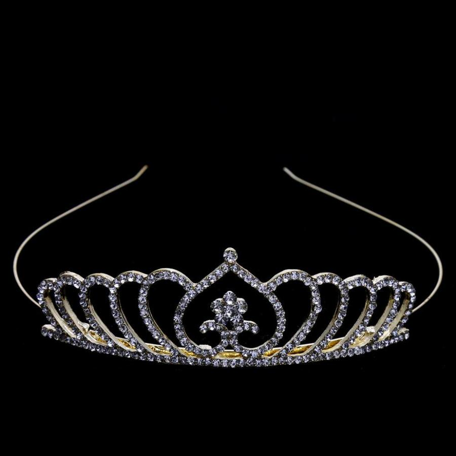Chique Goudkleurige Tiara / Kroon Heart-2