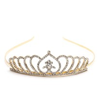 thumb-Chique Goudkleurige Tiara / Kroon Heart-1
