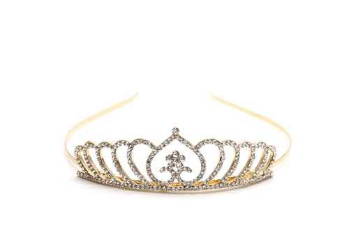 Chique Goudkleurige Tiara / Kroon Heart