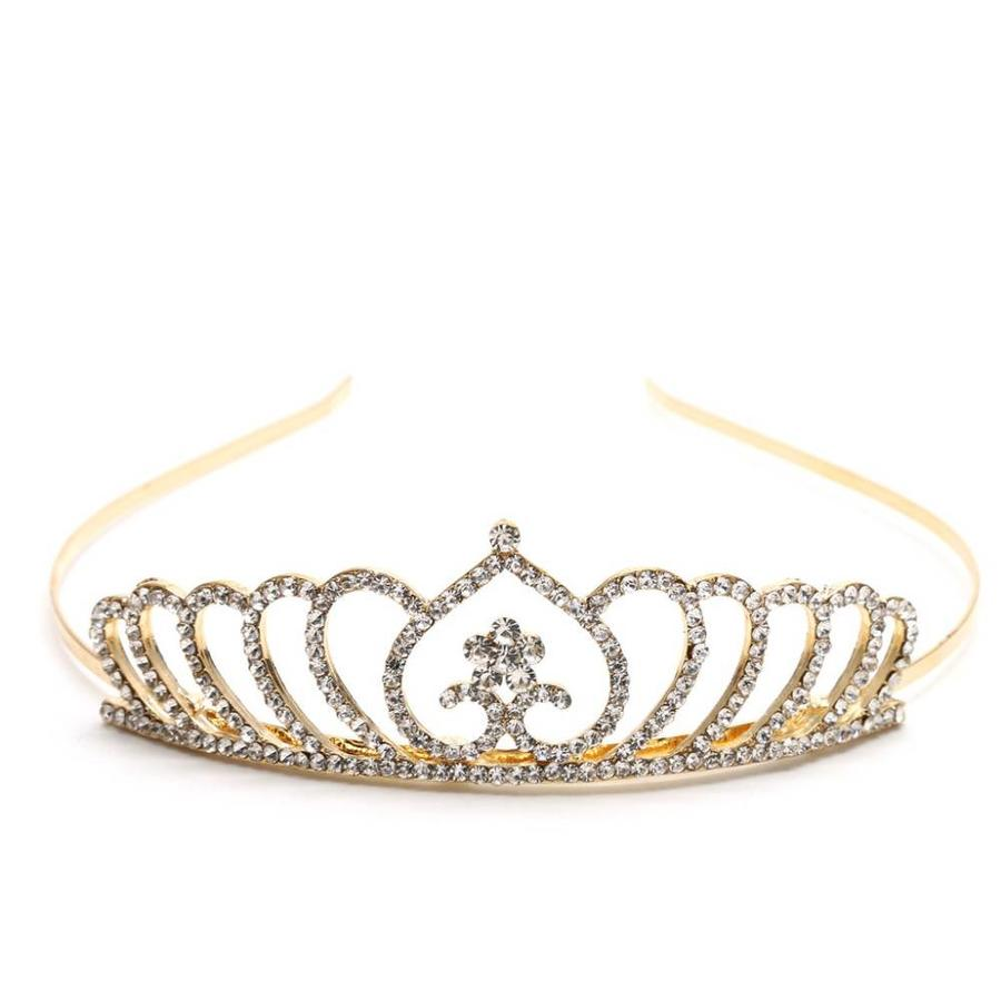 Chique Goudkleurige Tiara / Kroon Heart-1
