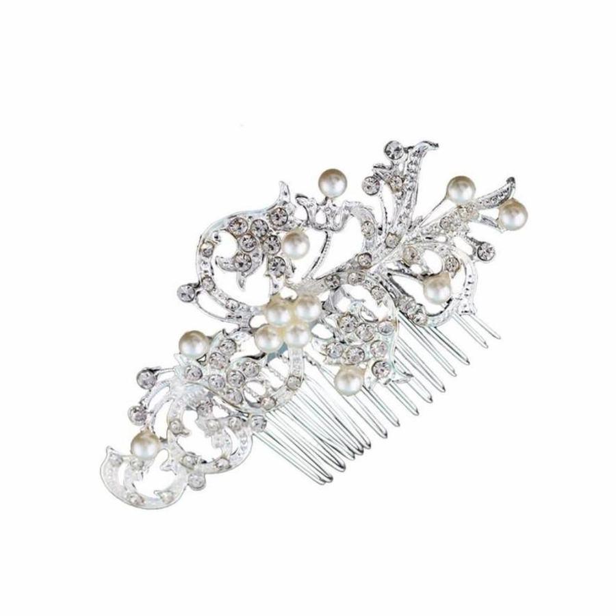 Stijlvolle Haarkam met Diamanten en Parels-5